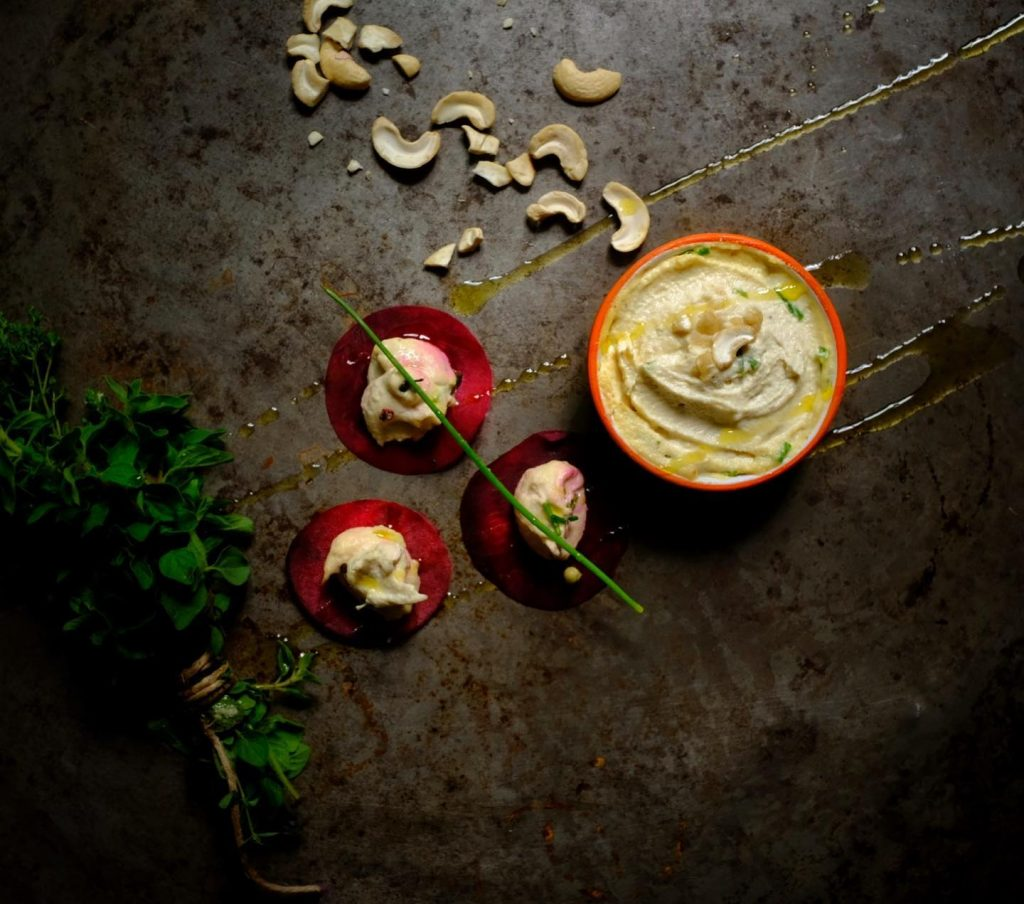 home made cashew cream cheese with herbs